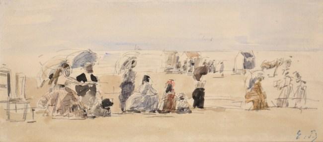 Eugène Boudin, Scène de plage, C. 1870, Watercolor