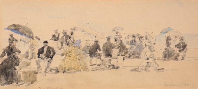 Eugène Boudin, Scène de plage à Trouville, 1870, Aquarelle