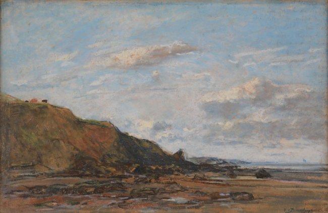 Eugène Boudin, La plage de Benerville, coucher de soleil, Pastel