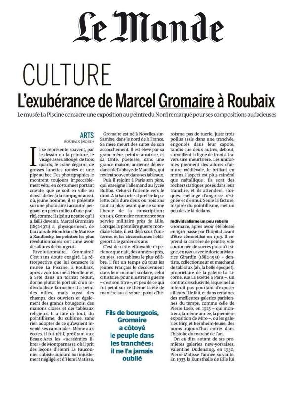 Article in Le Monde : L'exubérance de Marcel Gromaire à Roubaix