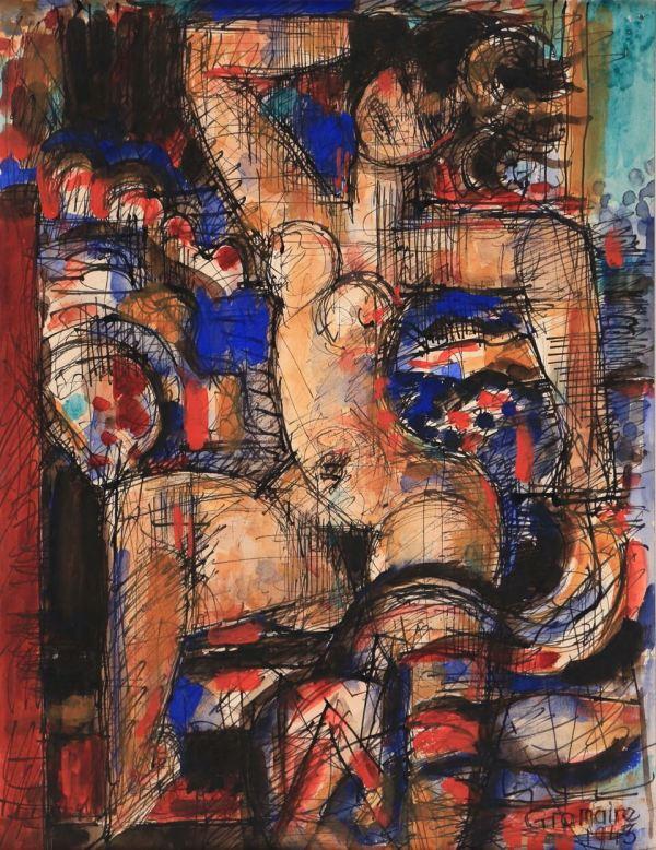 Marcel Gromaire, Femme nue, 1943, Watercolour, 43 x 32 cm
