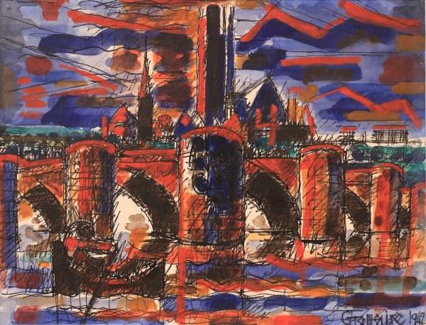 Marcel GROMAIRE, Le Pont, 1942, watercolour