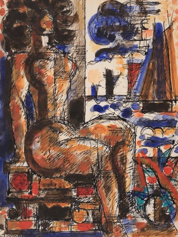 Marcel Gromaire, Femme nue assise à la fenêtre, 1942