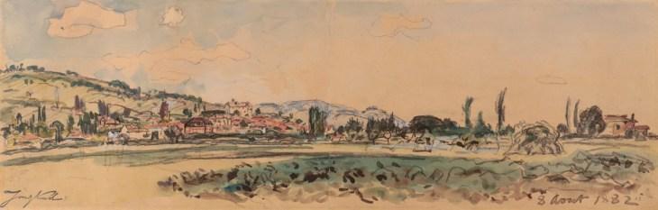 Johan-Barthold Jongkind, La Côte Saint-André vue de la Plaine de Bièvre, Aquarelle