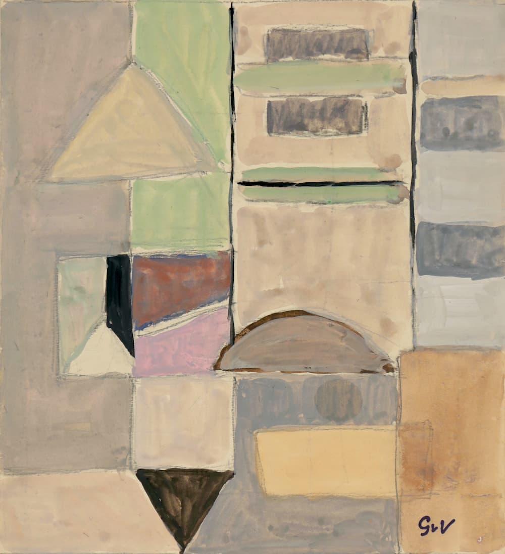 Geer van VELDE, Composition, C.1955, gouache, 22,4 x 20,3 cm