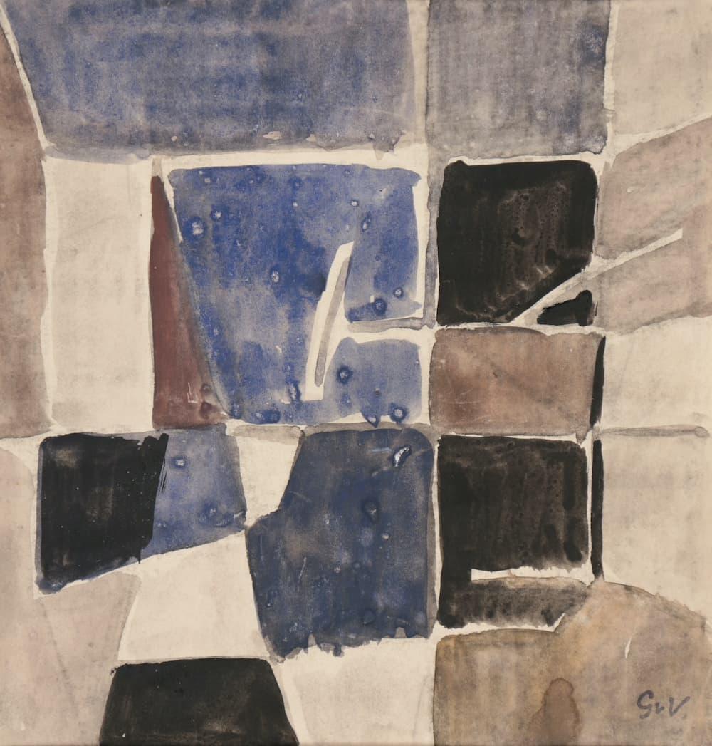 Geer van VELDE, Composition, C. 1957, gouache et aquarelle, 21 x 20,4 cm