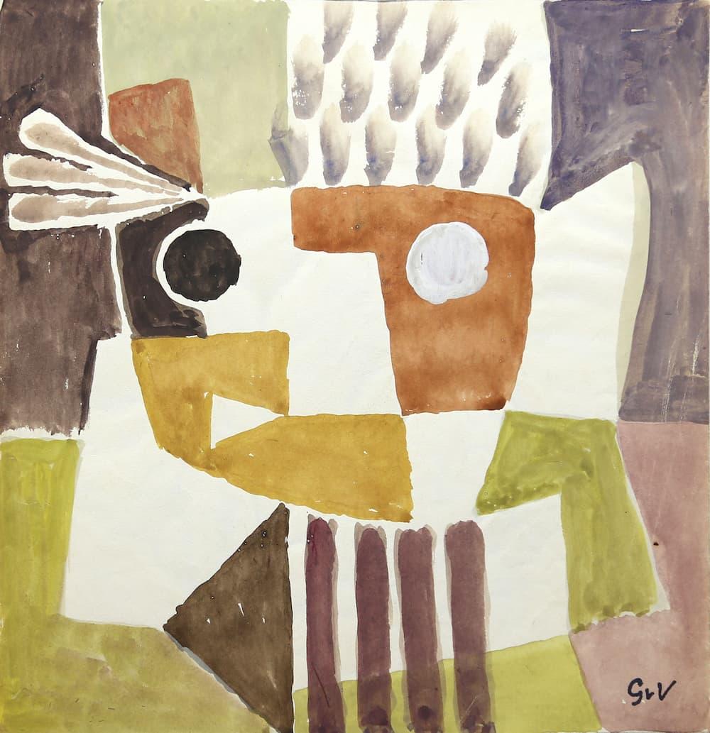 Geer van VELDE, Composition, C.1958, gouache, 22 x 21 cm