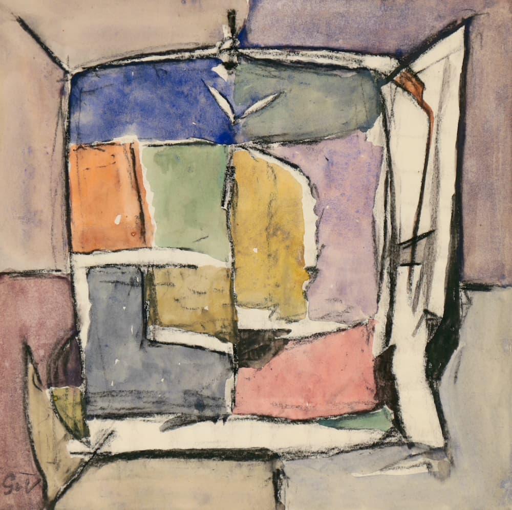 Geer van VELDE, Composition, C.1960, gouache et aquarelle, 20 x 20 cm