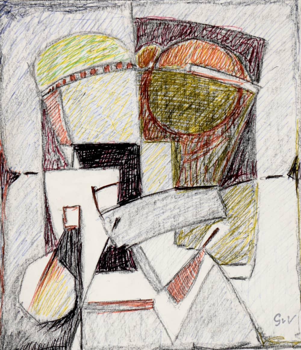 Geer van VELDE, Composition, C.1962, dessin, 22,7 x 19,5 cm