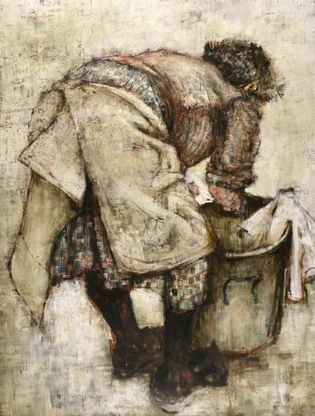 Michel de Gallard, Laveuse, 1958, Huile sur toile