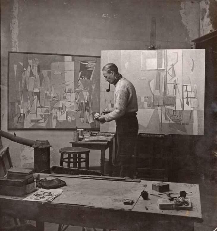 Geer van Velde dans son atelier, 1949 Photo : Jo Bokma