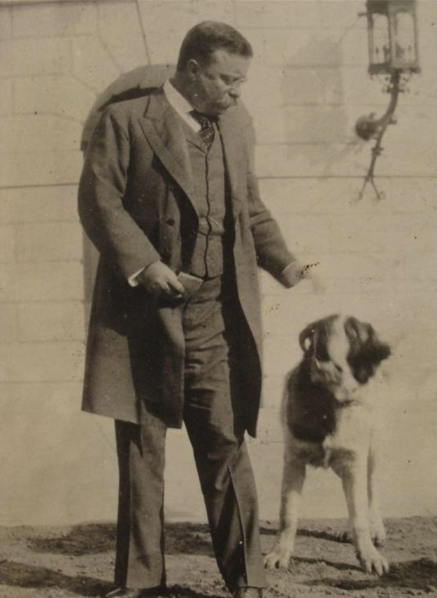 Theodore Roosevelt and the St. Bernard he tried to return, Rollo.