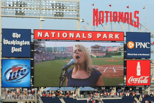 Angela Calo sings the National Anthem at Nationals Park