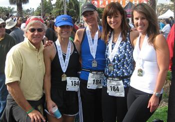 Randy Weiss with friends after the Santa Barbara International Marathon.