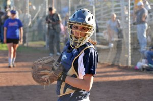 Chargers catcher Haley Peterson