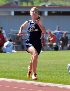 Addi Zerrenner makes her final push to the finish line at the end of her record-breaking race in the 3200 meters.