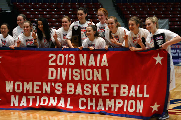 Led by head coach Kirsten Moore, Westmont's women's basketball team won the program's first National Championship in 2013. (Westmont Athletics Photo)