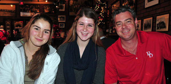Bishop Diego girls basketball players Jordyn Lilly and Colleen Duley, with head coach Jeff Burich.