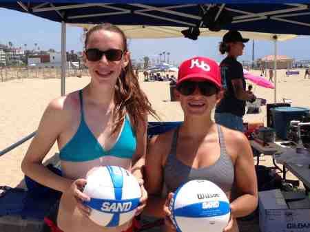 Isabel Bassi, right, of San Marcos High, teamed with Molly Feldmeth of South Pasadena to win the CBVA Playa del Rey Women's Unrated Tournament.