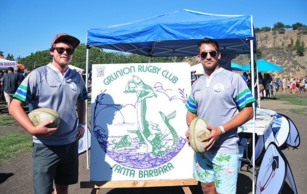 Santa Barbara Grunion players Josh and Isaac Hirsch, right, served as volunteer ambassadors at the Santa Barbara Beer Festival, one of the rugby association's largest annual fundraisers.
