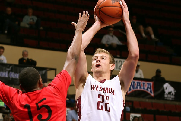 Cory Blau scored 24 points to lead Westmont past Mid-American Christian. (Photo by Brian Beard)