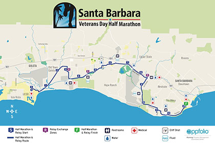 Santa Barbara Half Marathon Course Map
