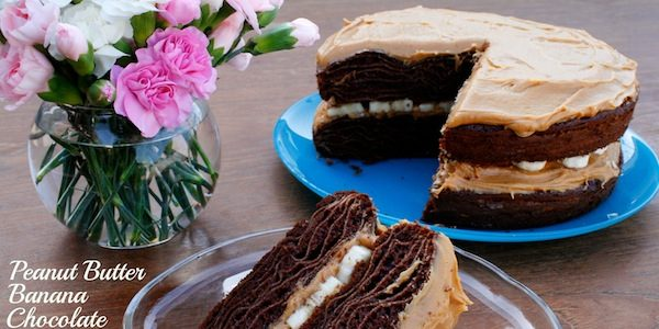Honey Peanut Butter Banana Chocolate Crepe Cake