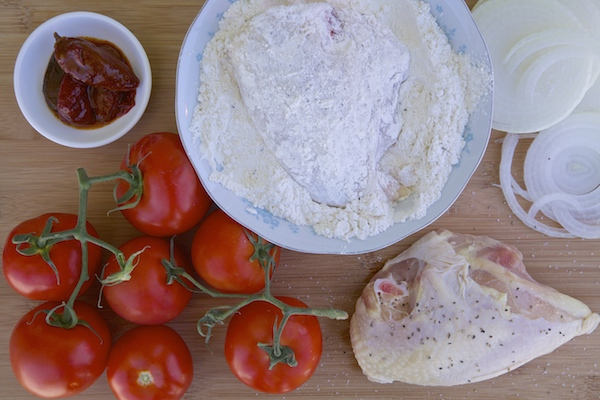 ingredients for fried chicken tomato chipotle cream sauce