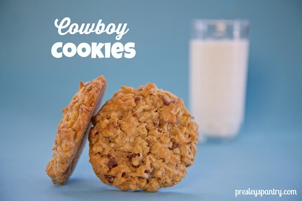 cowboy cookies and a glass of milk