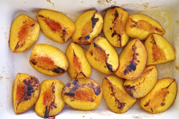 broiled peaches slightly charred