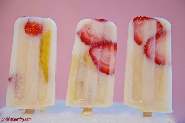 paletas made of strawberry banana horchata