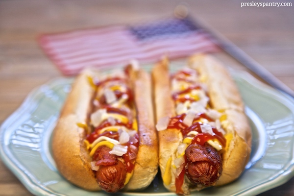 Bacon wrapped 4th of july hot dogs! #WMTMoms