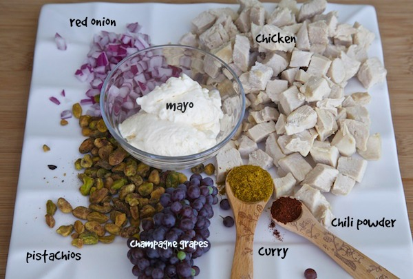 Ingredients for curry chicken salad