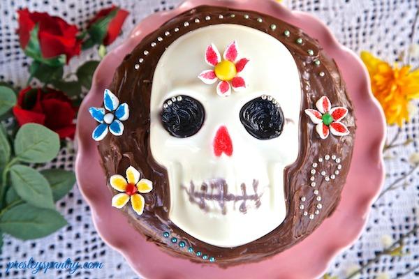 Dia de los muertos gelatin cake with marshmallow flowers