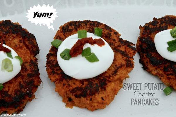 Sweet potato chorizo pancakes for a wonderful holiday appetizer