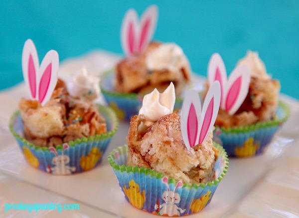 Bunny banana caramel bread pudding perfect for Easter.