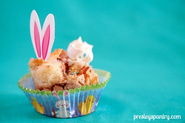 Banana caramel bread pudding in a bunny shape for Easter