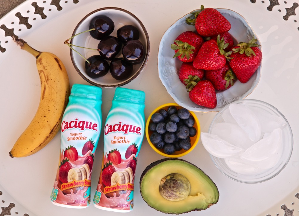 All the ingredients i used for the ultimate berry banana avocado smoothie bowl.
