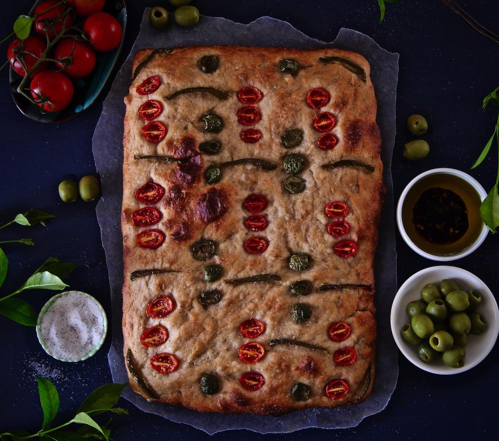 Full sheet of Tomato olive focaccia