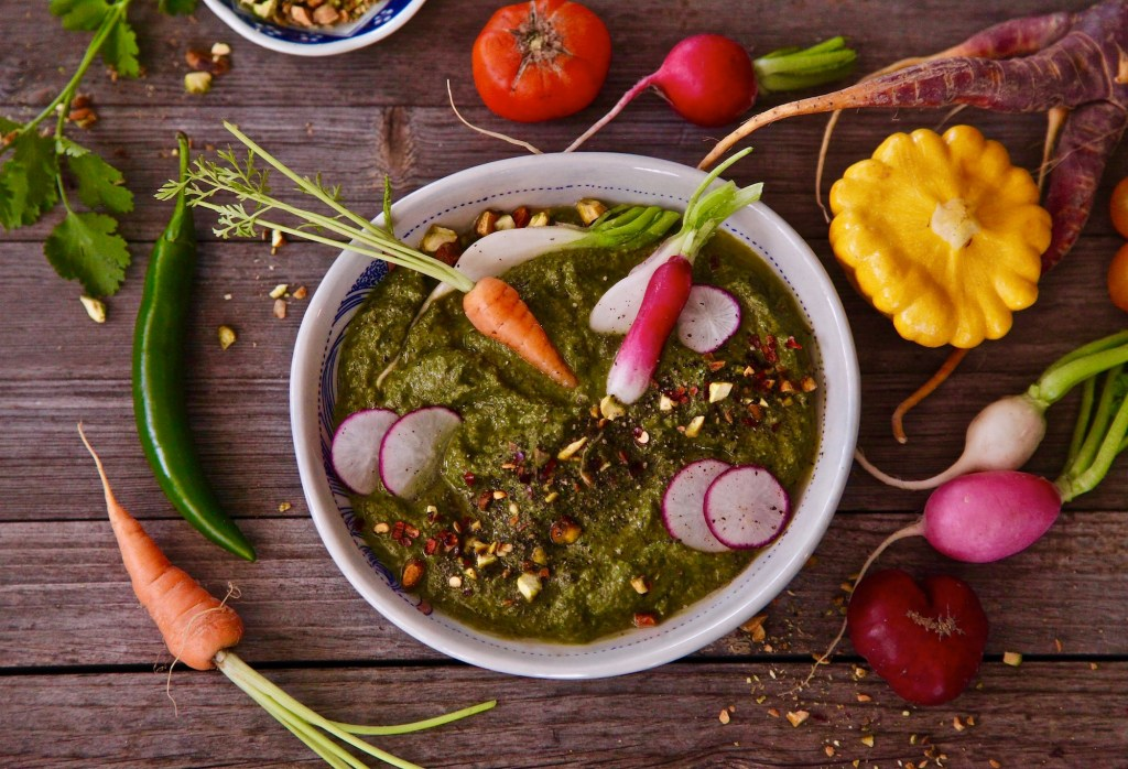 Crudités and serrano cilantro pesto makes for easy entertaining.