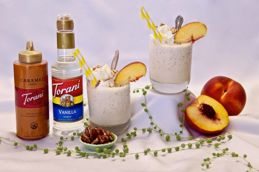 Caramel Peach Buttered Pecan Shake made with Torani