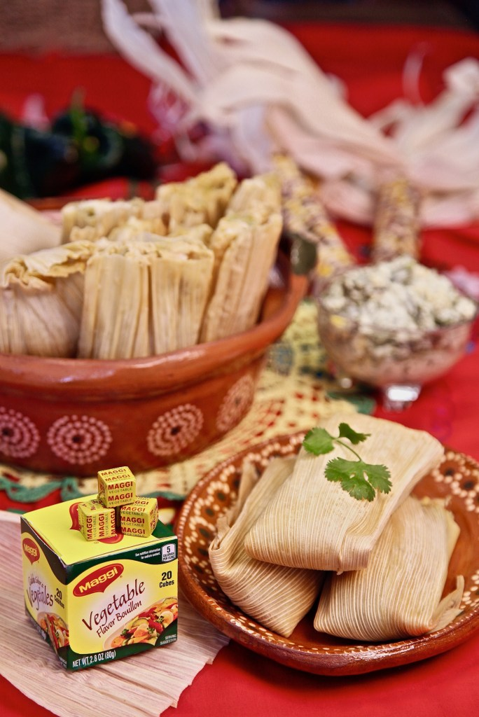 Rajas and Cheese Tamales made with Maggi