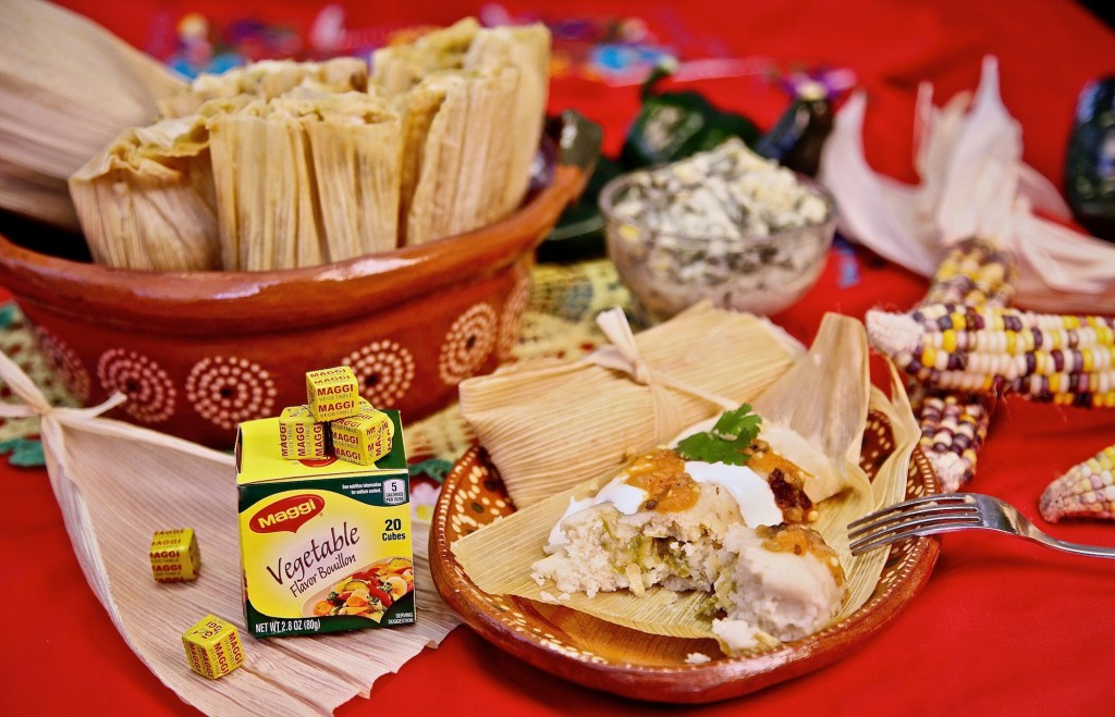 Rajas and cheese tamales made with Nestle Maggi vegetable bouillon.