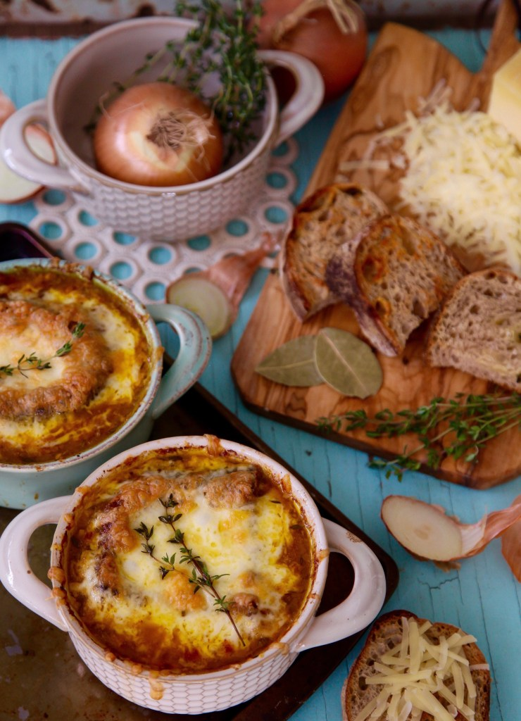 Vegetarian French Onion Soup. It is heavenly to the palate and my absolute favorite soup ever.