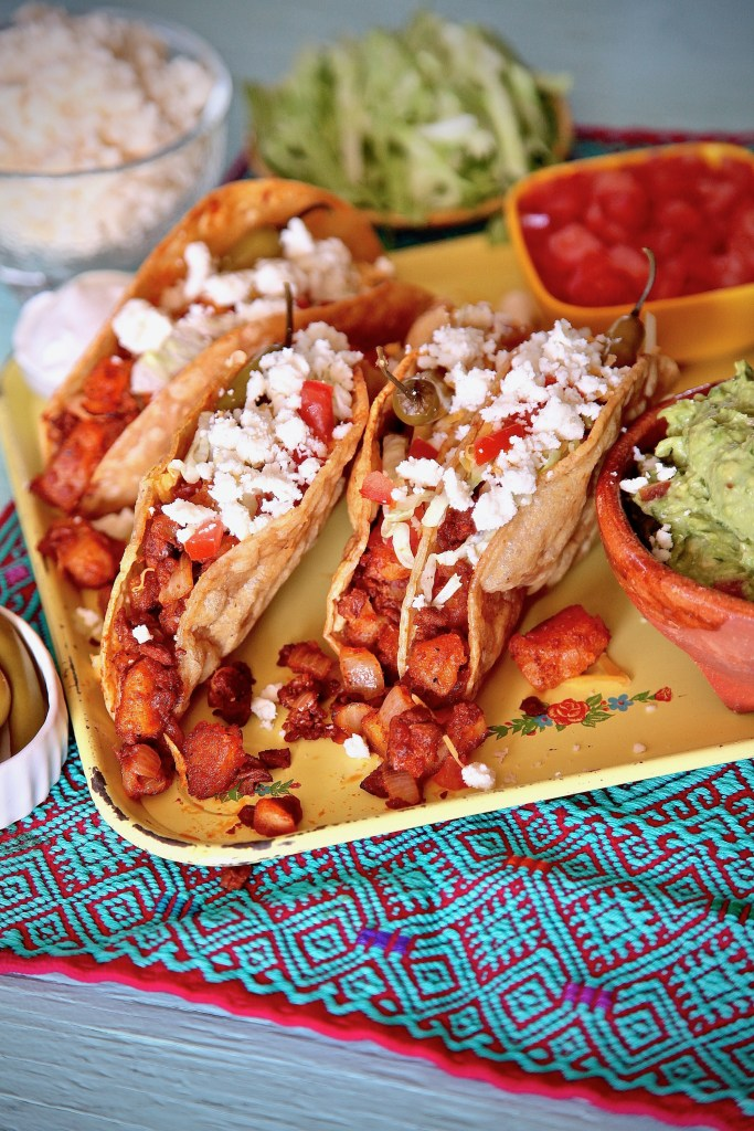 Soy Chorizo Potato Tacos can be enjoyed either vegan or add cheese for a vegetarian bite.