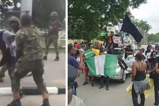 #EndSARS: Soldiers Attacking Protesters In Abuja (Video)