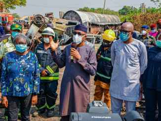 Tankers Ban From Using Over Head Bridge As Ogun State Governor Visits Tank Fire Victims (Photo)