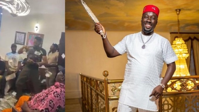 Video Of How Men Are Stoning Themselves With Money At Obi Cubana's Mom Burial