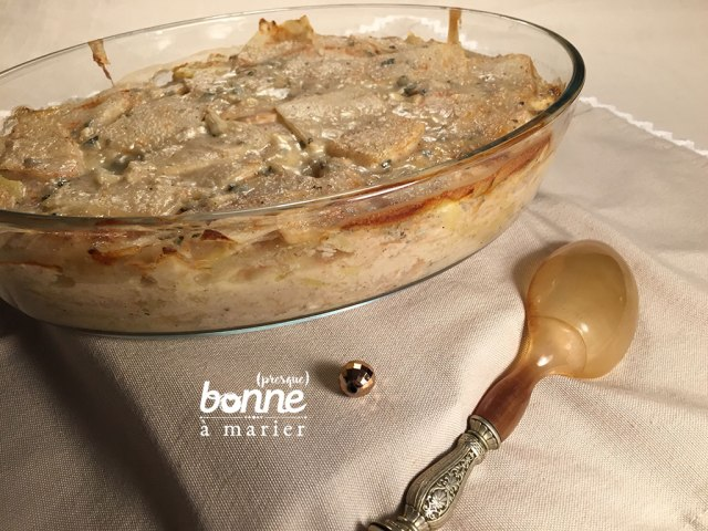 Gratin de céleri rave et pommes de terre au fromage bleu