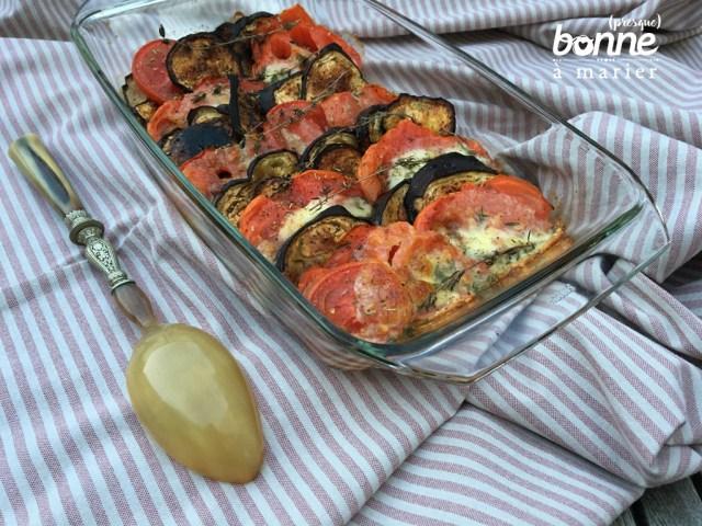 Tian provençal aux aubergines, tomates et mozzarella